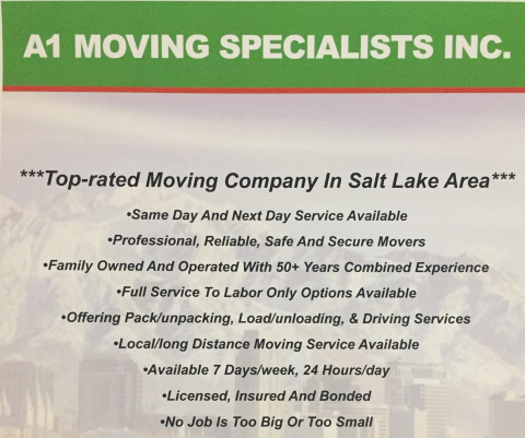 Best Utah Movers;   A1 Moving Specialists profile image